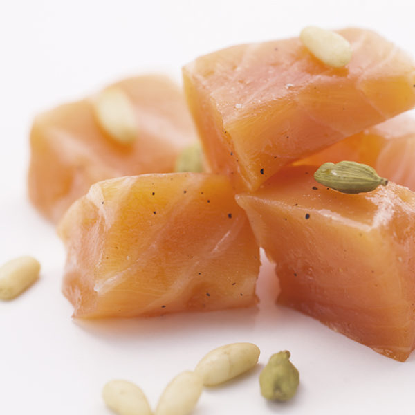 Marinated smoked salmon cubes