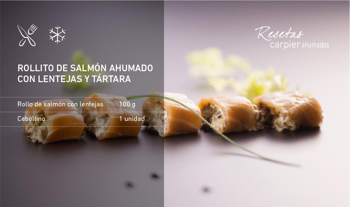 Rollito de salmón ahumado con lentejas y salsa tártara