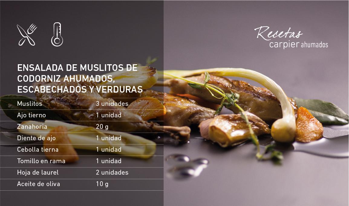 Ensalada de muslitos de codorniz ahumados, escabechados y verduras