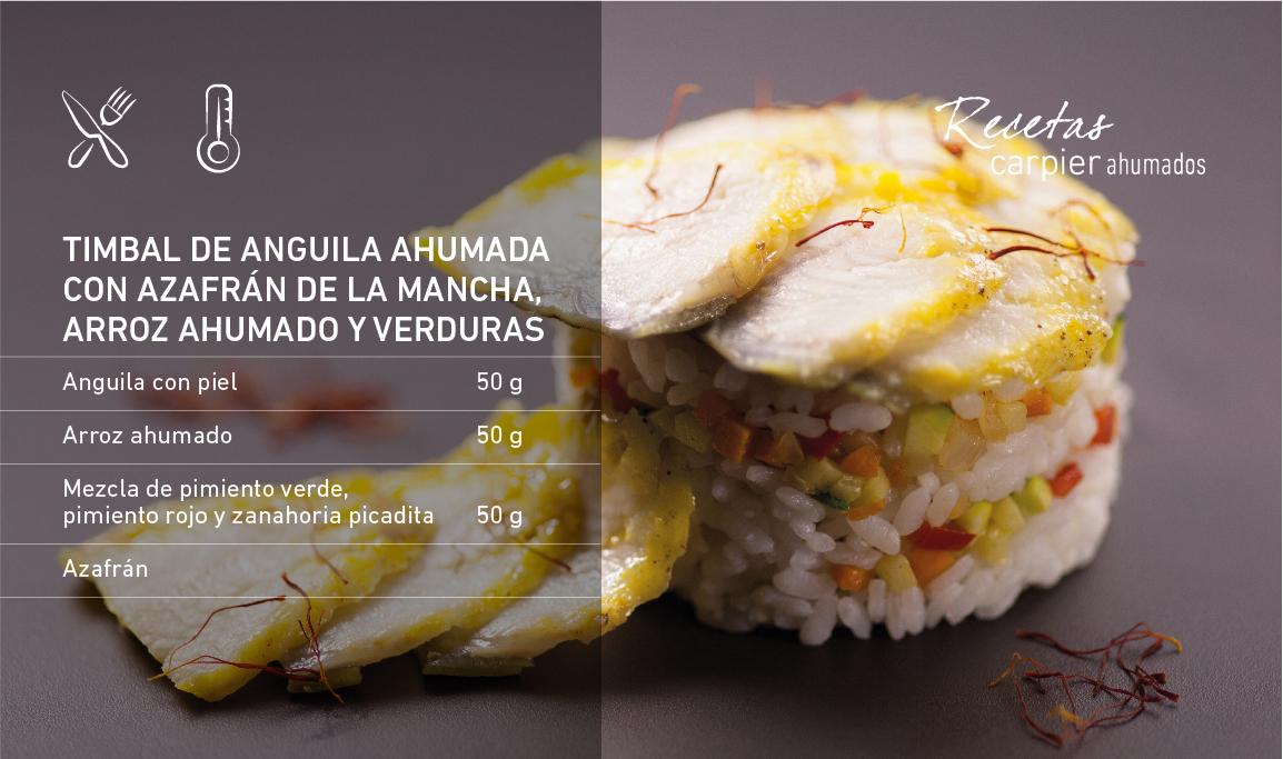Timbal de anguila ahumada con azafrán de La Mancha, arroz ahumado y verduras