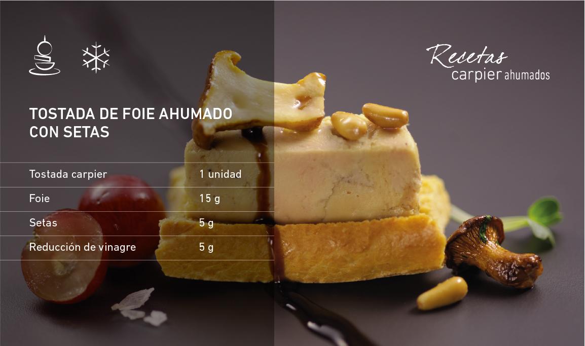 Tostada de foie ahumado con setas