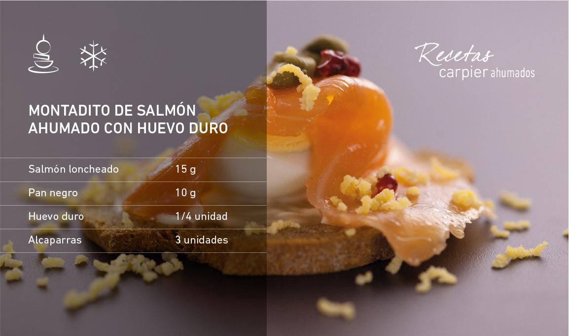 Montadito de salmón ahumado con huevo duro