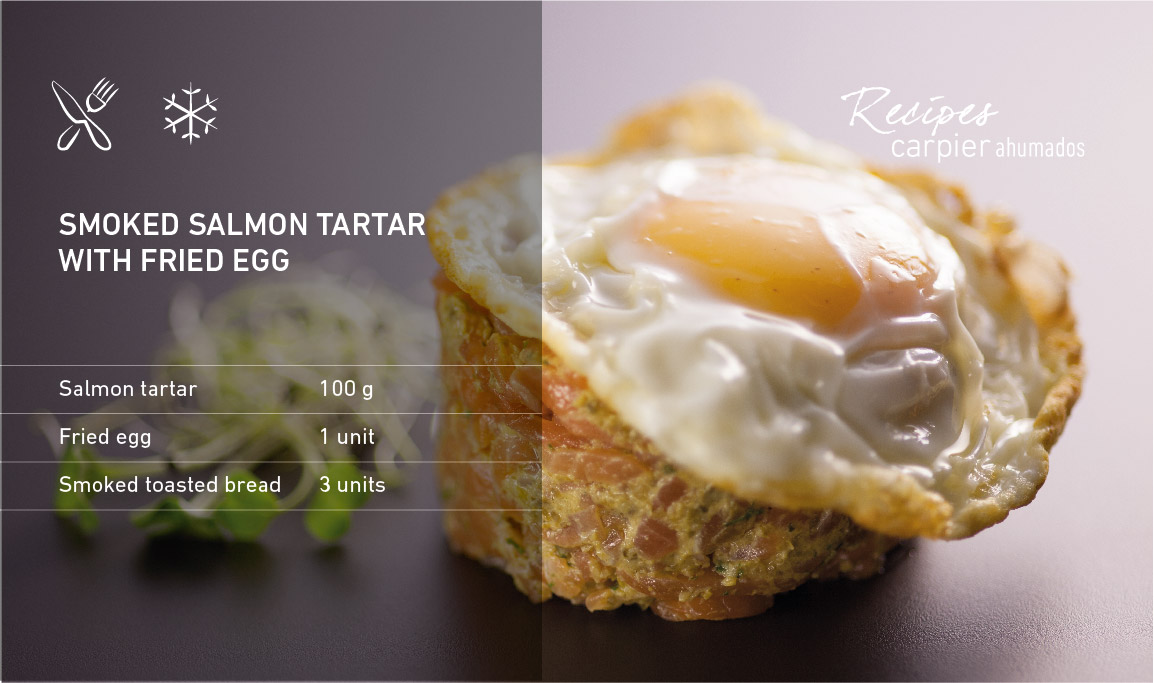 Smoked salmon tartar with fried egg