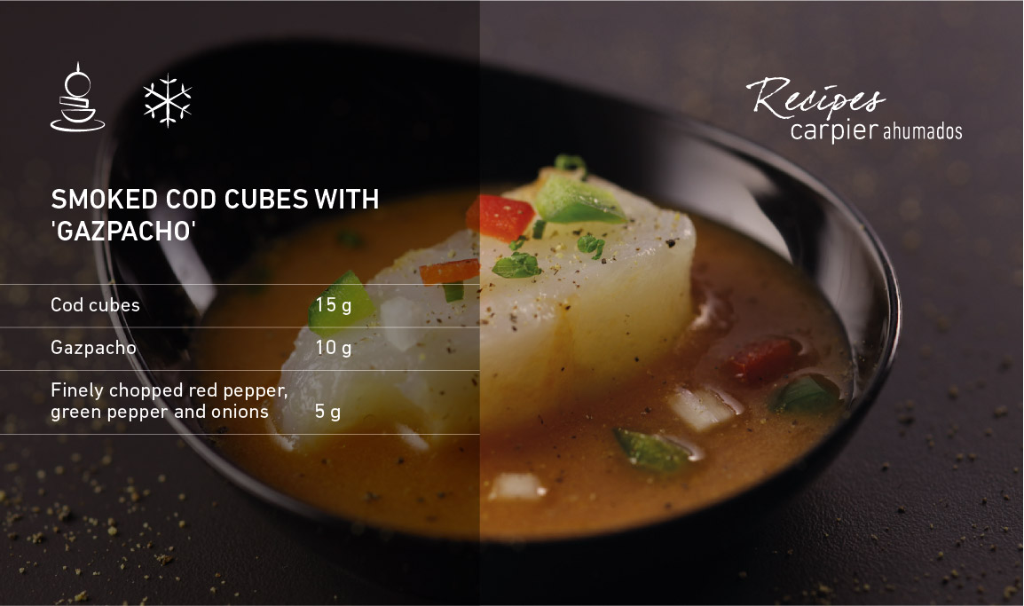 Smoked cod cubes with 'gazpacho'