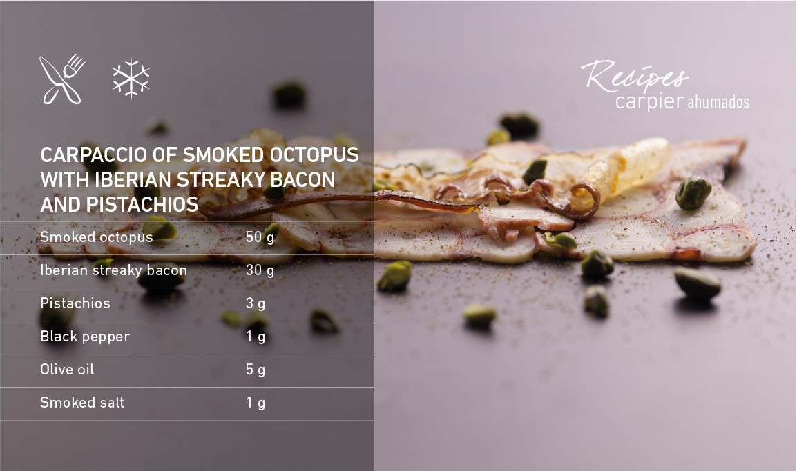 Carpaccio of smoked octopus with Iberian streaky bacon and pistachios