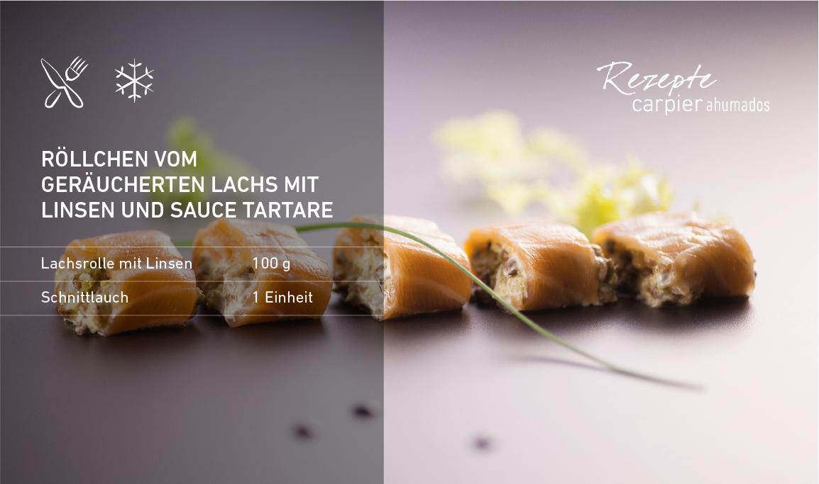 Röllchen vom geräucherten Lachs mit Linsen und Sauce Tartare