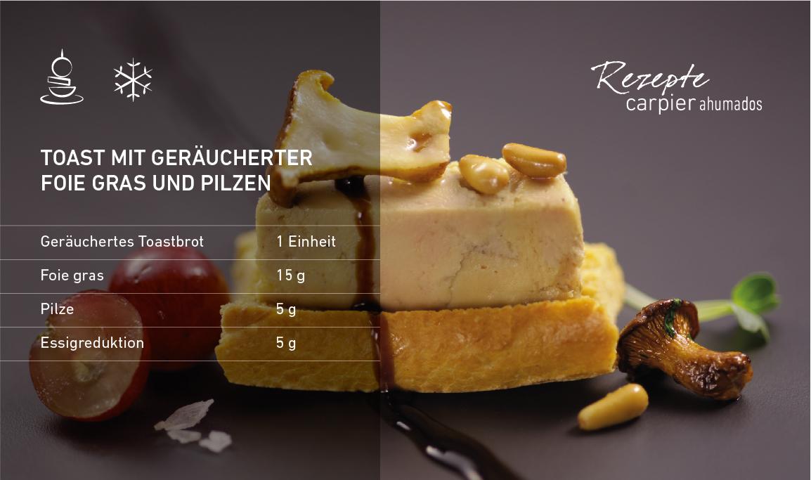 Toast mit geräucherter Foie gras und Pilzen